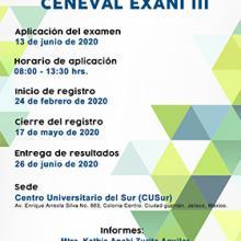 Aplicación del examen CENEVAL EXANI III a llevarse a cabo el 13 de junio, de 8:00 a 13:00 horas.