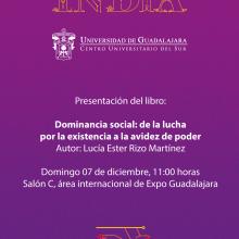 Presentación del libro: Dominancia social: De la lucha por la existencia a la avidez de poder a llevarse a cabo el 7 de diciembre a las 11:00 horas.