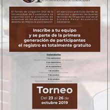 Cartel para promocionar el Primer Torneo de Litigación Oral de la Universidad de Guadalajara