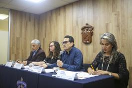 Los funcionarios de CUSur durante la rueda de prensa